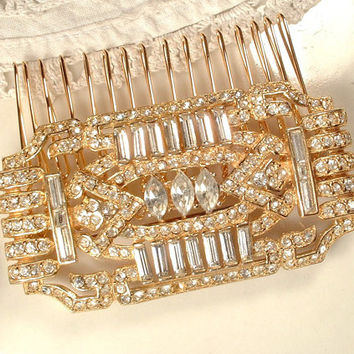 1920s 1930s Gold Bridal Headpiece Or Sash Brooch, Art Deco Pave Rhinestone Pin or OOAK Hair Accessory, Edwardian Hair Comb Vintage Gatsby