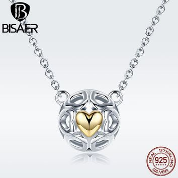 BISAER 100% 925 Sterling Silver Collar Forever Love Heart Engrave Circle Girls Pendant Necklaces for Women Silver Jewelry ECN079