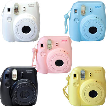 Fuji instax mini 8 Fujifilm instant Film Camera Pink Black Blue White Yellow
