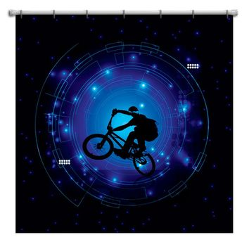 """BMX Shower Curtain """"IN THE VORTEX"""" from Extremely Stoked"""