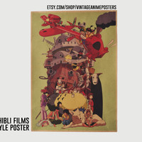 30x42cm Studio Ghibli Vintage Style Poster - Hayao Miyazaki Film Collection Wall Print Poster