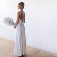 Ivory white wedding dress , Open back dress, Maxi straps dress, Backless dress, Wedding gown