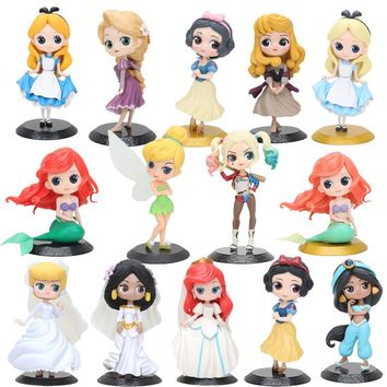 14cm Princess doll Suicide Squad Snow White Rapunzel Ariel Mermaid Cinderella Jasmine Tangled Princess Action figure toys