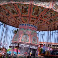 Photography Print - County Fair Pink Swing Ride in the Summer - 8 x 10