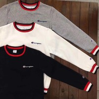 Day-First™ Champion Casual Retro Round neck Top Pullover Sweater