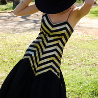 Prom Dress Vintage 80s Black Chevron Striped Metallic Cocktail Party Dress  (xs)