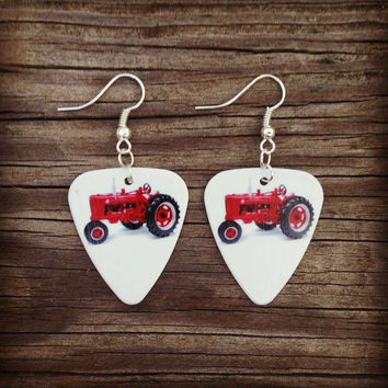 Red Tractor guitar pick earrings jewelry, perfect for the Country Girl
