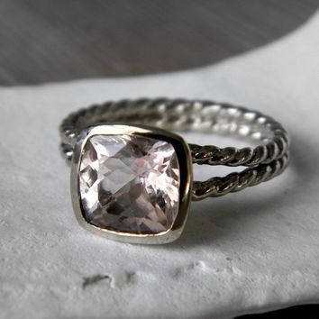 Morganite Rapunzel Ring in Palladium 14k White by onegarnetgirl