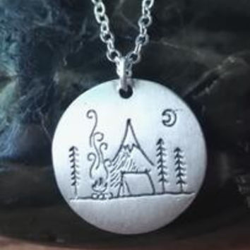 1pcs Lovely Fashion mountain necklace nature pendant Camping under a big bright moon Lover Gift Live the simple life