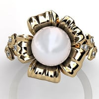14k yellow gold white South Sea pearl diamond unusual unique floral engagement ring, bridal ring, wedding ring ER-1045-2