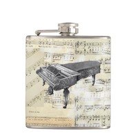 Vintage Piano Music Flask