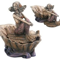 Mermaid Layla on Shell Small Round Jewelry Box - T79370
