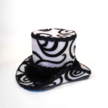 Black, White, Gold, Swirl, Mini Top Hat, Burlesque, Pin Up, Drag Queen, Fascinator, Headpiece, Costume, Cosplay, Mad Hatter