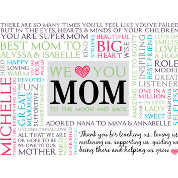 Personalized Mom Word Art.  Unique Mother's Day gift.