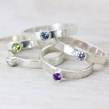 Birthstone Gemstone Sterling Silver Stack Rings - Handmade Personalized Jewelry - Stackable Thin Rings - Gemstone Ring