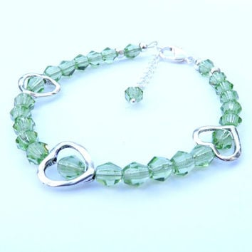 Bracelet, Green Crystals, Heart Shaped Charms, Silver Clasp, Mothers Day, Bridesmaid, Wedding, Gift Idea