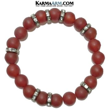 WARRIOR | Red Agate | CZ Diamond Bracelet