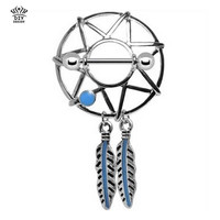 Retail 2 pieces/lot dream Catcher Nipple ring Beautiful Nickel-free Body Piercing jewelry 14G 316L surgical steel bar