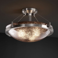 Justice Design Group FSN968135MRORDB Fusion Ring 18-InchThree-Light Dark Bronze Round Semi-Flush Bowl With Ring - (In Dark Bronze)