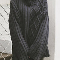 Black High Neck Loose Slit Side Dipped Cable Knit Jumper