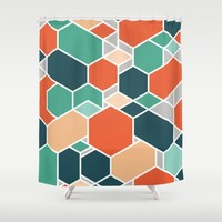 Hex P Shower Curtain by Leandro Pita