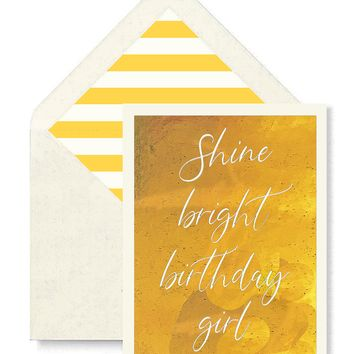 Shine Bright Birthday Girl Greeting Card, Single Folded Card or Boxed Set of 8