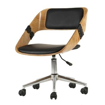 Stuart PU Leather Bamboo Swivel Office Chair Black/Natural