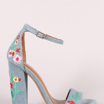 Embroidered Floral Suede Chunky Heel   UrbanOG