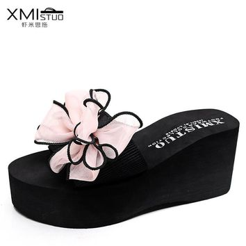 2017 Women Sandals With Platform Flip Flops Women Summer Shoes high heels Wedges Sandals Beach Shoes Slippers sandalia feminina