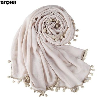 ZFQHJJ Women Cotton Scarf Tassels Autumn Winter Plain Long Shawl Wraps Stole Head Scarves Hijab Scarf Bandana Foulard female