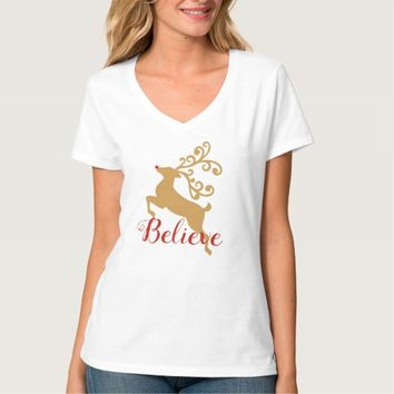 "Golden Rudolph Reindeer ""Believe"" Holiday TShirt"