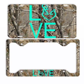 Camo Buck Love Deer Browning Mint License Plate Frame Car Tag Country Hunting