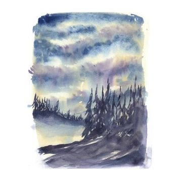 Watercolor Landscape, Watercolor Painting, Nature Painting, Art Print, Watercolor, Watercolor Trees, Forest Landscape, Painting of Tree