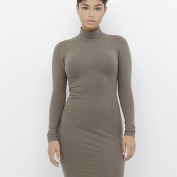 MONA MOCK NECK MIDI DRESS - OLIVE