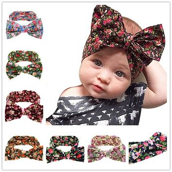 Naturalwell Baby Girls big Bow Knot Elasticity Headband Cotton Children Girls Elastic Hair Band Hair Accessories 1pc HB508