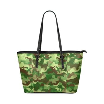 Women Shoulder Bag Camouflage Green Leather Tote Bag