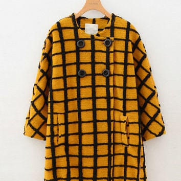 Plaid Half Sleeve Button Woolen Coat