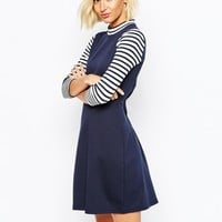 River Island Stripe Sleeve Skater Dress