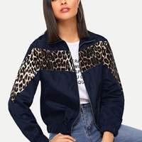Navy Blue Leopard Print Jacket
