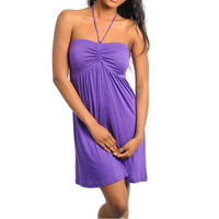 Draw String Casual Halter Dress in Purple