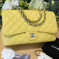 CHANEL Matelasse Chain Shoulder Bag Purse Porch Yellow Women Luxury Mint Rare