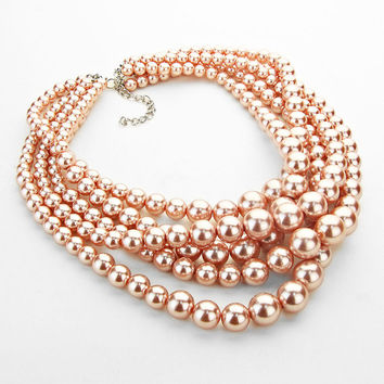 Pink Pearls 5 Row Statement Necklace Earring Set