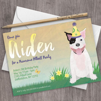 Pitbull Birthday Invitation Printable Dog Party Invite Spring Pet Birthday Party Announcement Cute Pitbull Invitation Custom Animal Invite