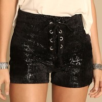 Scream For Me Lace Up Shorts | Threadsence