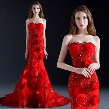 Red Mermaid Prom Dress With Flowers Sweetheart Neckline Laced-up Back Short Tail Long Formal Party Dress Custom Size