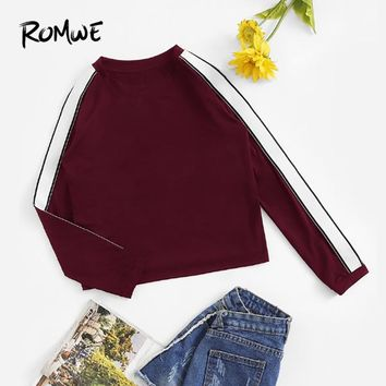 ROMWE Burgundy Striped Tape Sleeve Tee Casual Round Neck Long Sleeve T Shirt Women Autumn Ladies Clothing Spring Pullovers Tops
