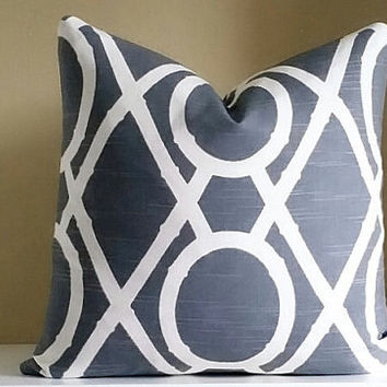 Gray and Ivory - Dwell Studio Pillow Cover- Pick Your Size - 16x16, 18 x18, 20x20, 22x22, 24x24