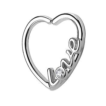 BodyJ4You 16G Daith Earring Piercing Heart Love CZ Silver Tragus Helix Cartilage Hoop Body Jewelry