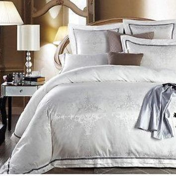 Luxury 6pc. White Jacquard King Size Satin Duvet Cover 500TC Bedding Set