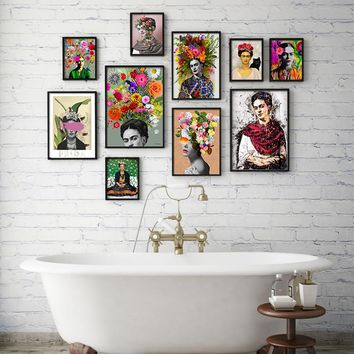 Cuadros frida style Nordic Decoratio Wall Art Canvas Posters and Prints Canvas Painting Picture for Living Room Self Portrait